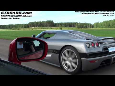 Nissan GTR vs Koenigsegg CCR Evolution Drag Race Video