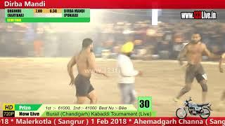 2nd Semi - Dhanori Vs Dirba Mandi Burail (Chandigarh)  Kabaddi Cup 21 Jan 2018/www.123Live.in