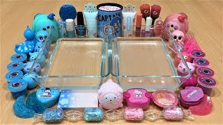 Mixing Makeup and Glitter Into Clear Slime ! Pink Vs Blue Special Series Part 14 Satisfying Slime