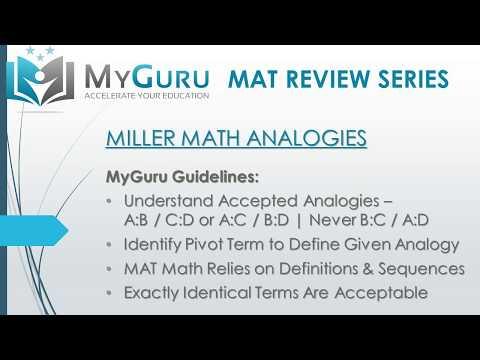 MyGuru Tutoring - Miller Analogies Test (MAT) Math Analogy ...