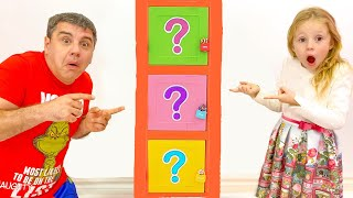 Nastya and dad - fun competitions and challenge with toys