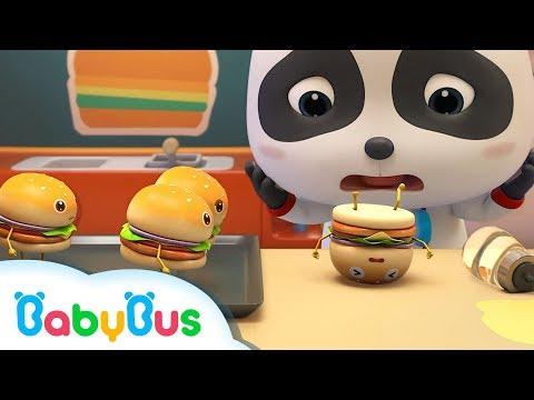 Naughty Hamburger Slips down | Baby Panda Chef,  Kitchen Play | Christmas Song | BabyBus