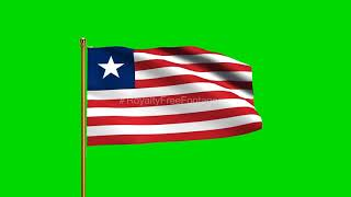Liberia National Flag | World Countries Flag Series | Green Screen Flag | Royalty Free Footages