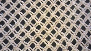 Узор сеточка (вязание крючком). Mesh pattern (Crochet).