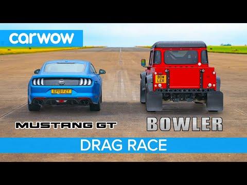 Ford Mustang vs Bowler Bulldog - 5.0-litre V8 DRAG RACE, ROLLING RACE & BRAKE TEST