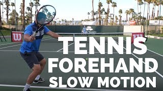 Tennis Forehand Slow Motion - Court Level View - Coach Simon