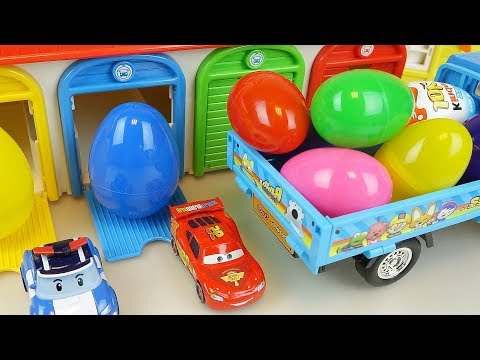 Cars And Poli Car Toys Surprise Eggs Kinder Joy Truck Play