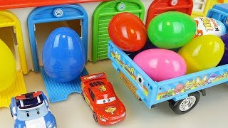 Cars and Poli car toys surprise eggs Kinder joy truck play