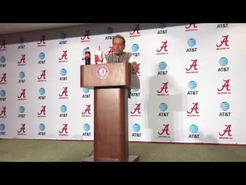 Nick Saban addresses the media after Alabama's second scrimmage