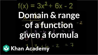 Domain and Range of a Function Given a Formula