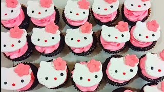 HELLO KITTY CUPCAKE / BOILED ICING / CUPCAKE DECORATING