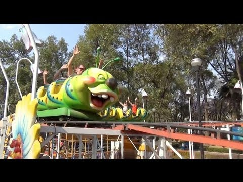 Mexico City Wacky Worm Roller Coaster POV Parque Francisco Villa