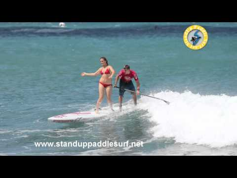 Zane and Shelby Schweitzer Tandem SUP Surfing on Starboard Surf Race Board