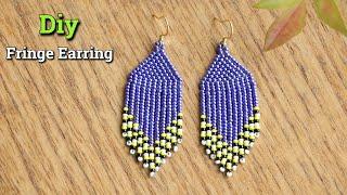 How To Make Fringe Earring   Beaded Earring   Native American #HowTo #Fringe #SeedBead #Diy #Earring
