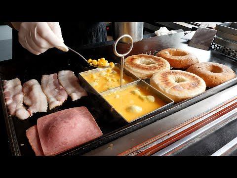베이컨 햄 치즈 베이글 / bacon ham cheese bagel / korean street food