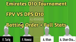 FPV VS DPS Dream 11 team // DPS VS FPV Dream 11 team // FPV VS DPS Dream 11 team prediction
