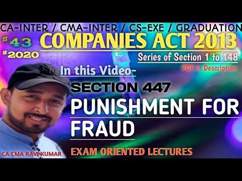 "43   SEC 447, ""PUNISHMENT FOR FRAUD""   COMPANIES ACT 2013   ICAI MODULE"