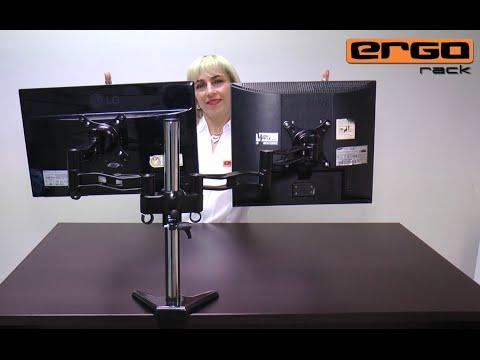 Ergorack:  Soporte o brazo Dual D-08D para dos monitores LCD