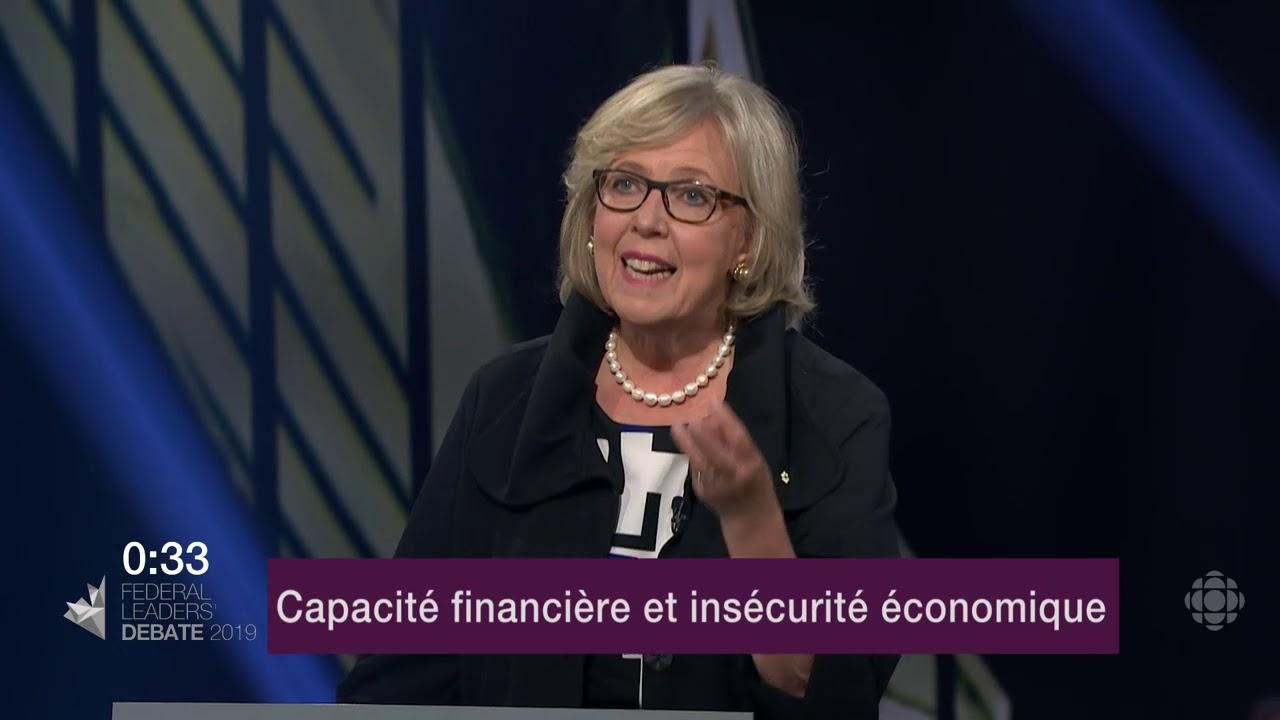 Elizabeth May répond à une question du modérateur sur l'endettement et les finances publiques
