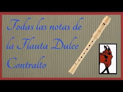 Todas las notas de la flauta dulce CONTRALTO de digitacion barroca-Recorder blockflote alto notes