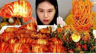 SUB 비빔국수 김치쌈 Bibimguksu (Spicy mixed noodles) and Kimchi Roll Mukbang 먹방 Eating Sound
