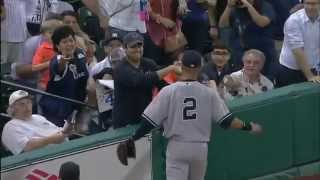 Adult Tries to Steal Ball from Little Girl, Derek Jeter Makes Sure She Doesn't