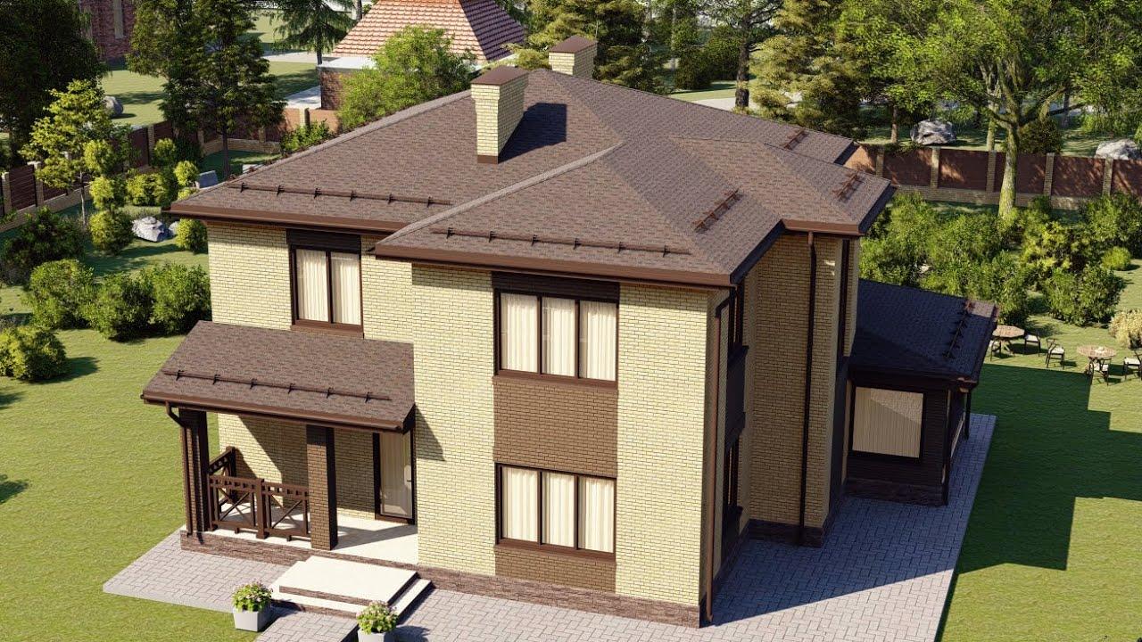 Проект двухэтажного дома из газобетона со вторым светом 166 м2