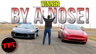 New Chevy Corvette Stingray vs. Tesla Model Y Drag Race: Think You Know The Results? Think Again! by The Fast Lane Car