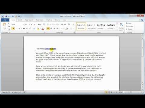 Microsoft Word 2010 basic editing – Tutorial 8