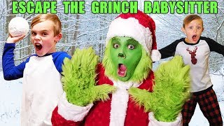 Escape the Babysitter! The Grinch Babysitter Showdown! Escape the Room to Save Christmas Again!