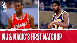 Michael Jordan vs Magic Johnson   1st Matchup Ever Rookie Jordan   12.2.1984