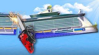 CUTTING A SHIP IN HALF!   Floating Sandbox Gameplay   Sinking Ship Game
