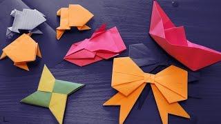 Оригами - Как сделать КОРАБЛИК, машинку, СЮРИКЕН, лягушку и БАНТИК из бумаги
