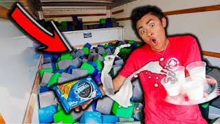MOVING TRUCK filled with 10,000 FOAM CUBES!!! (CHALLENGE)