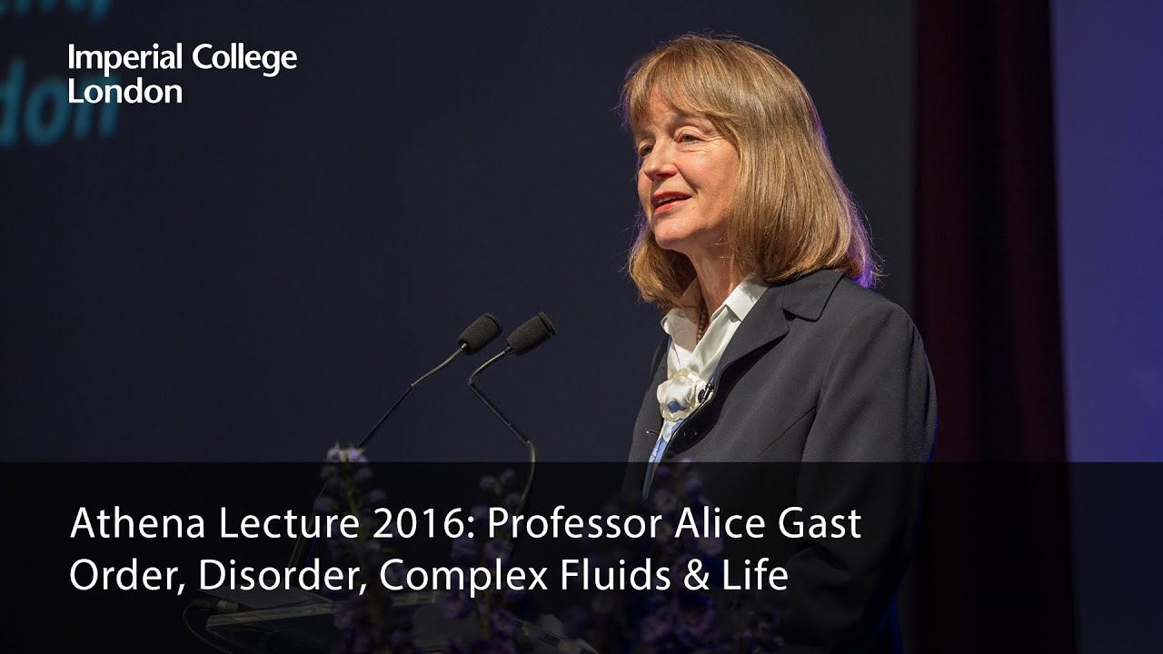 Professor Alice P. Gast presents the 2016 Athena Lecture 'Order, Disorder, Complex Fluids & Life' on 29 June 2016. .