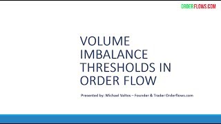 Volume Imbalance Thresholds In Order Flow Analysis Of Futures Day Trading