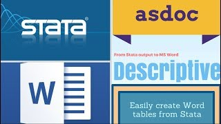 Easily create Descriptive / Summary Statistics from Stata in Word with asdoc