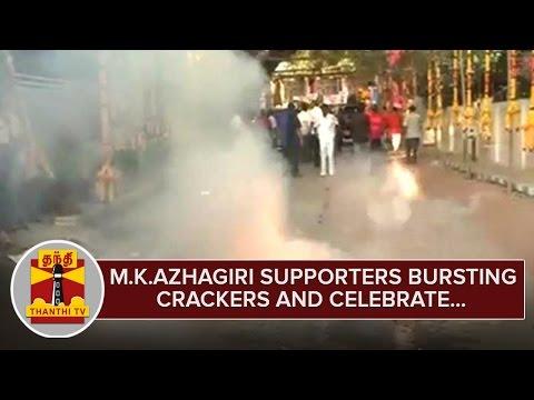 M-K-Azhagiri-Supporters-bursting-Crackers-and-Celebrate-Karunanidhi--M-K-Azhagiri-Meet