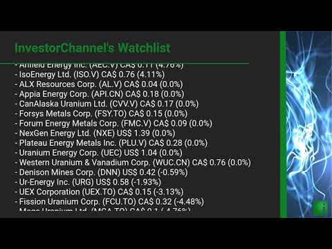 InvestorChannel's Uranium Watchlist Update for Friday, May 29, 2020, 16:02 EST