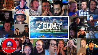Live Reactions | Zelda: Link's Awakening for Nintendo Switch (25+ Youtubers Synched Compilation)