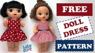 DIY 👗 How To Make A Baby Alive Doll Dress Free Pattern - Audio Fix
