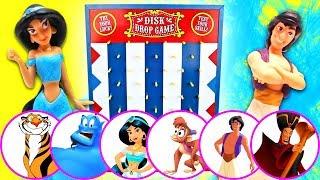 Disney Aladdin Disk Drop Game! W/ Princess Jasmine, Genie & Jafar