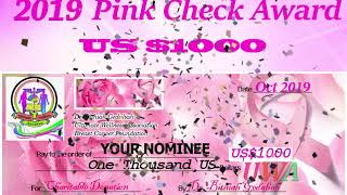 UWA US$1000 Pink Check Award