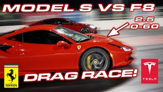 2.31 to 60 MPH ENOUGH? * Ferrari F8 Tributo vs Tesla Model S Performance Drag Race by DragTimes