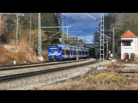 Züge in Aßling Bahnhof und stillgelegtes Stellwerk !!