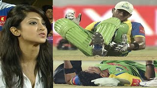 Batsman Collapses On Ground After Hitting Huge SIX | #KeralaStrikers Vs #KarnatakaBulldozers