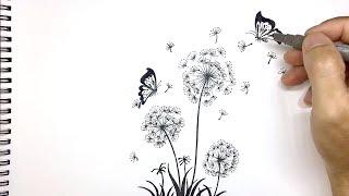 How To Draw Dandelion Flower Tattoo Design | PDA