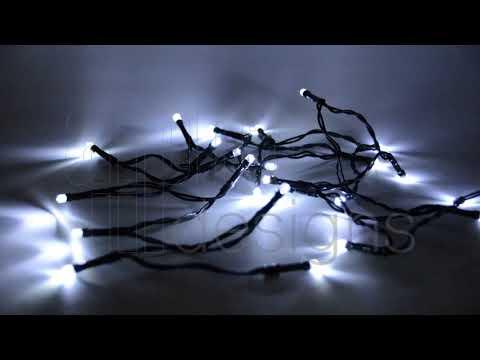 Chaîne lumineuse extérieure avec 24 LED et minuterie, 8 variantes d'éclairage, 180 cm, blanc