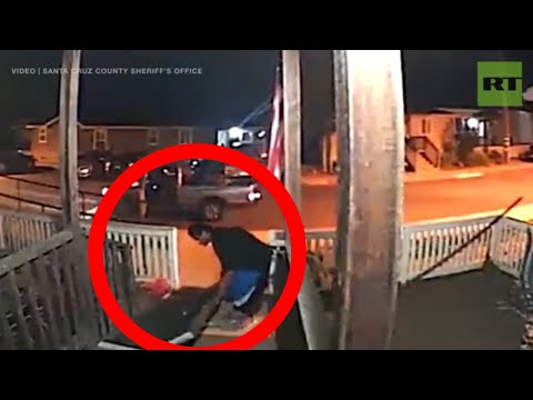 Moment man streals wheelchair ramp at night in California