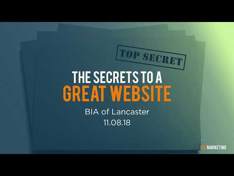 The Secrets to a Great Website – Fall Session